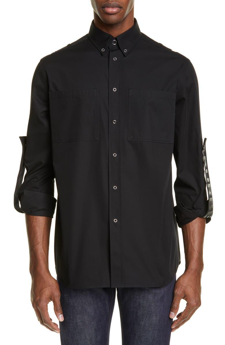 BURBERRY Runway Branded Slim Fit Roller Sleeve Shirt, Main, color, BLACK