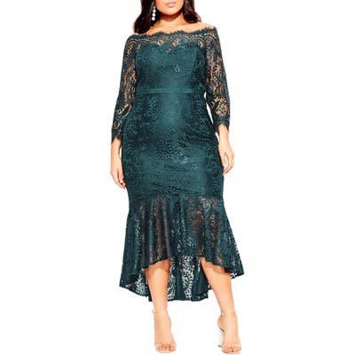 Plus Size City Chic Estella Off The Shoulder Dress, Green