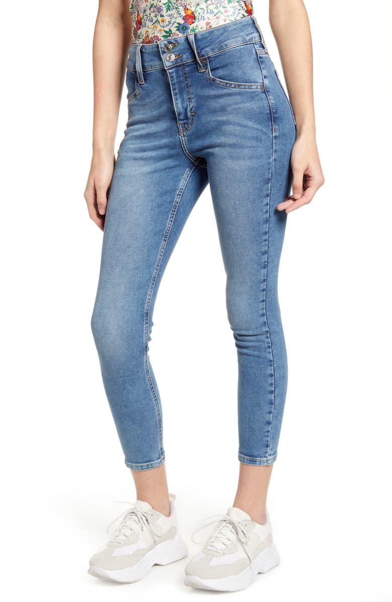 TOPSHOP Jamie Double Button High Waist Crop Skinny Jeans, Main, color, MID DENIM