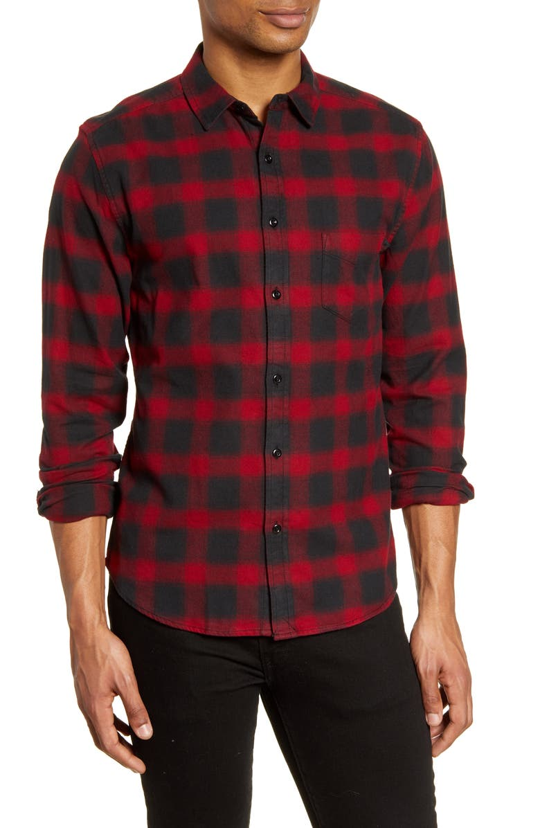LIFE/AFTER/DENIM Dark Shadow Regular Fit Plaid Button-Up Flannel Shirt, Main, color, WILDBERRY
