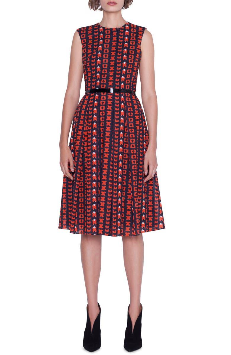 AKRIS Magic Forms Print Cotton Voile Dress, Main, color, 600