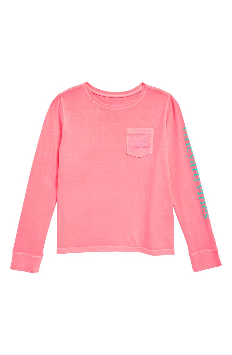 VINEYARD VINES Long Sleeve Pocket Tee, Main, color, WASHED NEON PINK