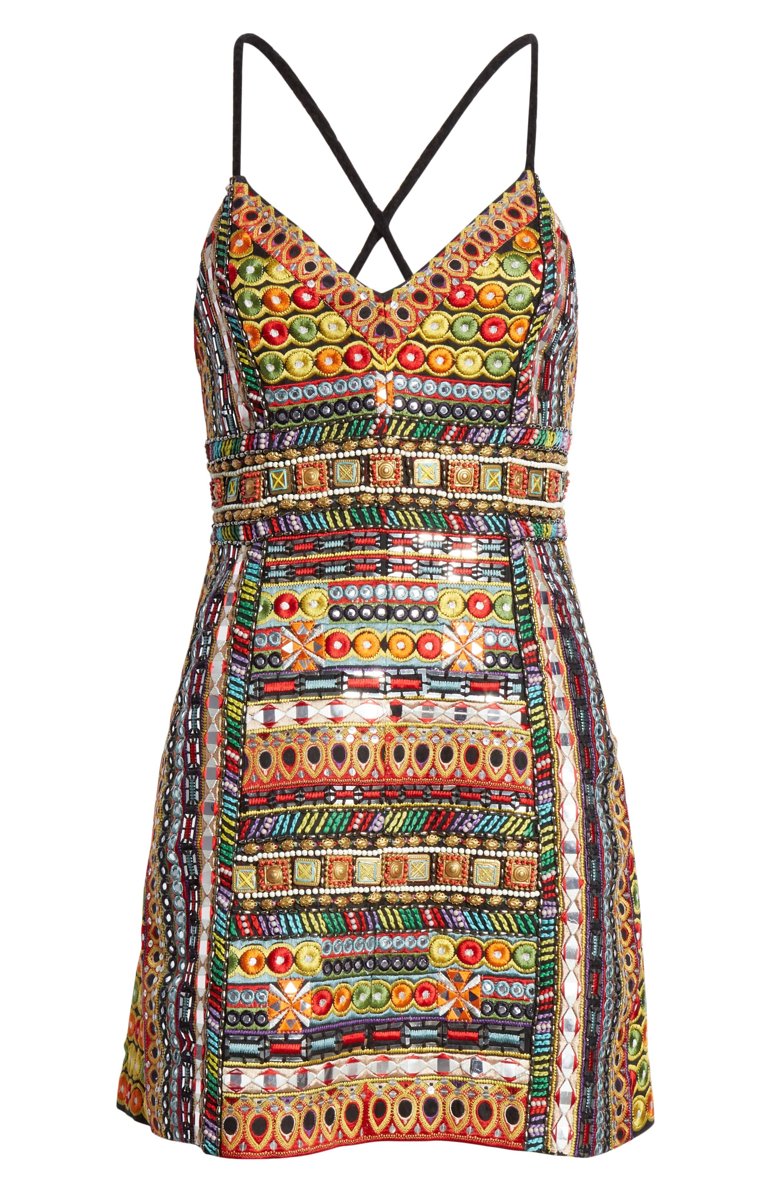 ,                             Tayla Embroidered Minidress,                             Alternate thumbnail 6, color,                             MULTI