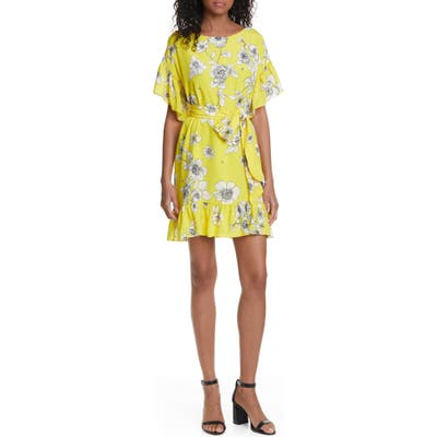 Alice + Olivia Ellamae Ruffle Sleeve Dress, Yellow