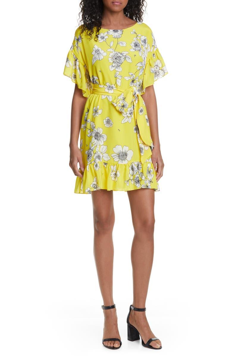 ALICE + OLIVIA Ellamae Ruffle Sleeve Dress, Main, color, BEGONIA CITRUS