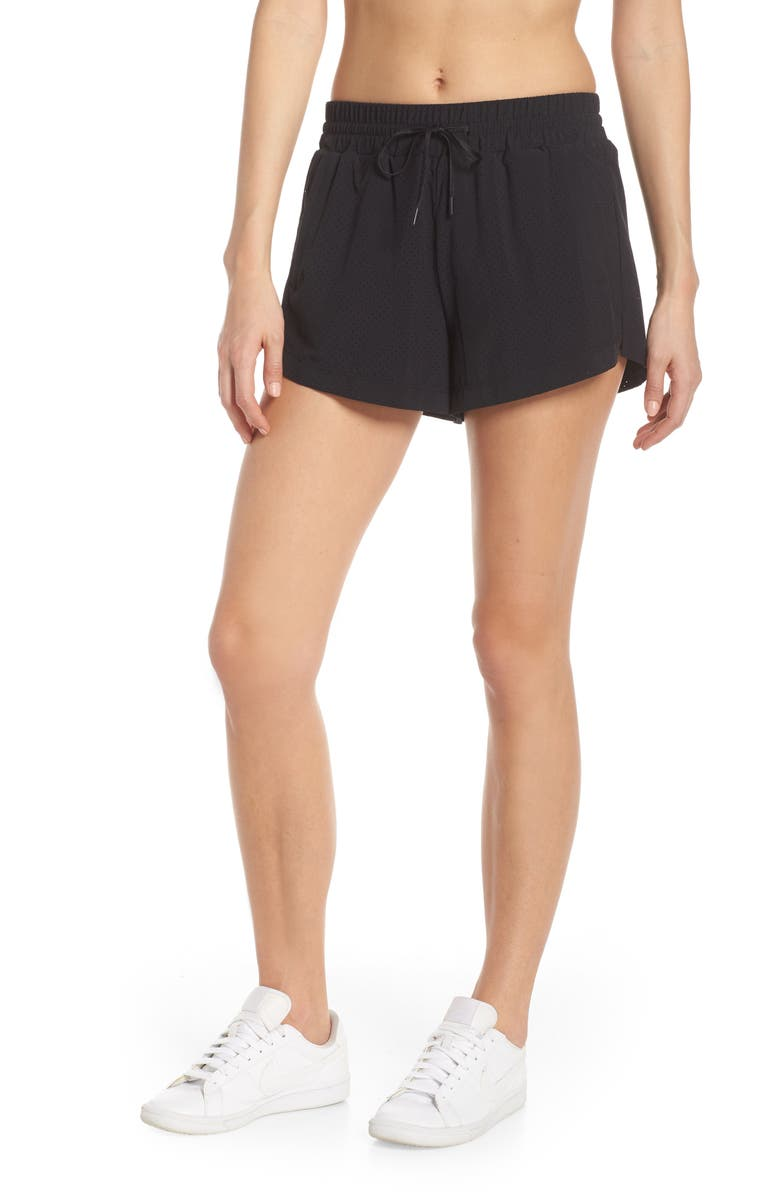 ZELLA High Waist Mesh Court Shorts, Main, color, 001