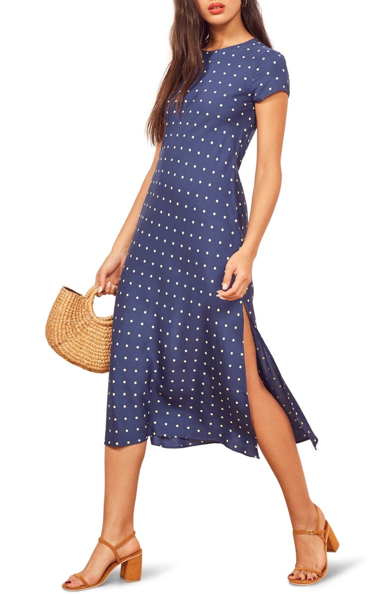 REFORMATION Jennifer Dot Midi Dress, Main, color, GEORGINA