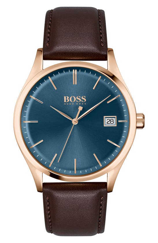 Hugo Boss Watches COMMISSIONER LEATHER STRAP WATCH, 42MM