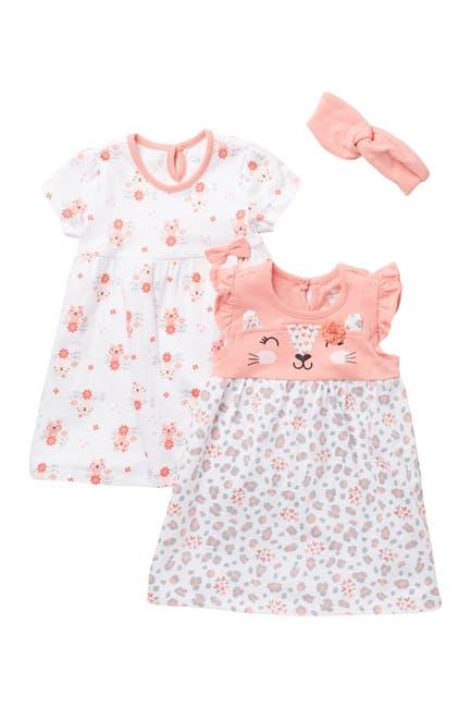 Image of koala baby Cat Print Dress & Headband Set