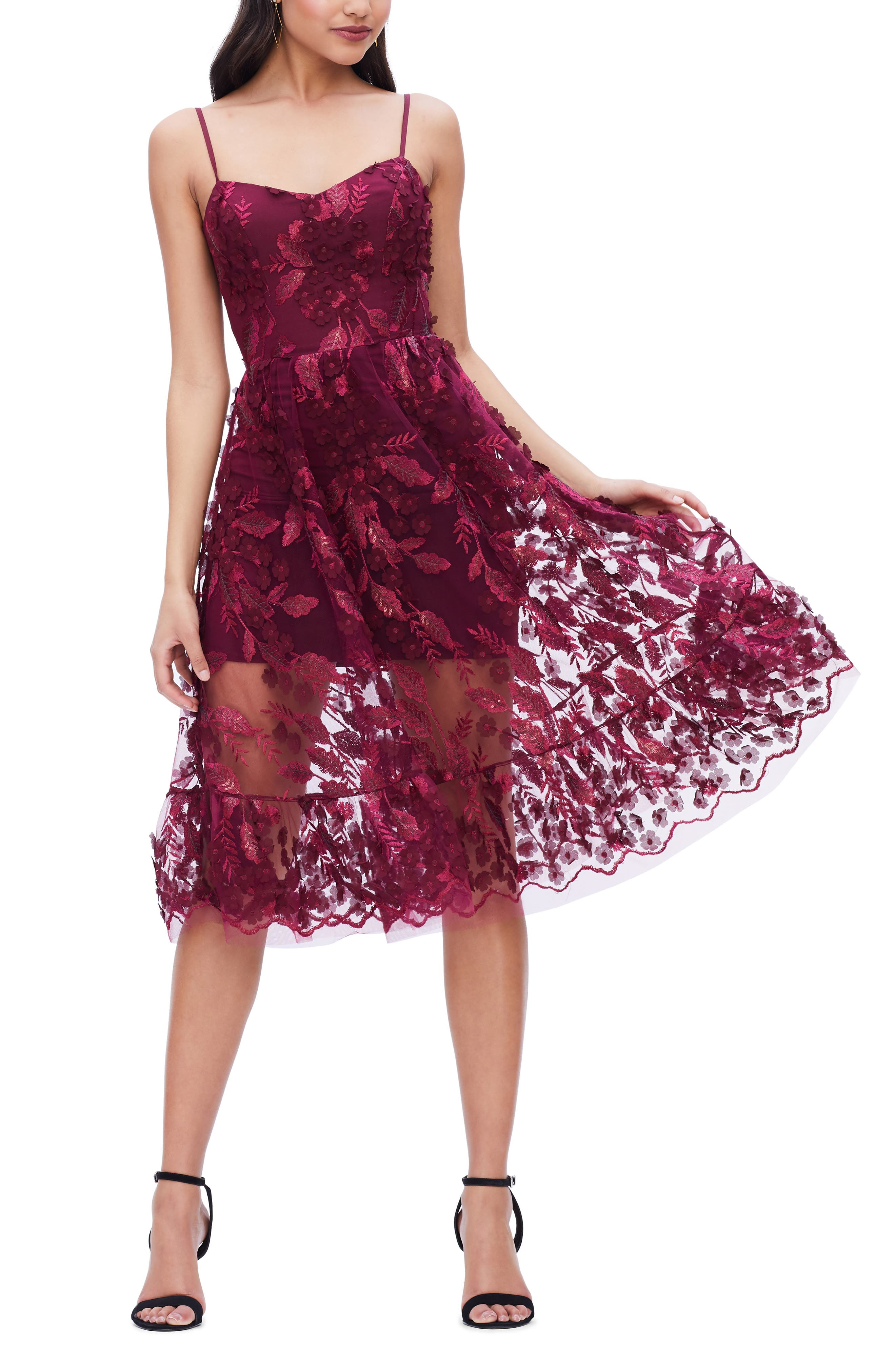 Image of Dress the Population 3D Lace Fit & Flare Dress