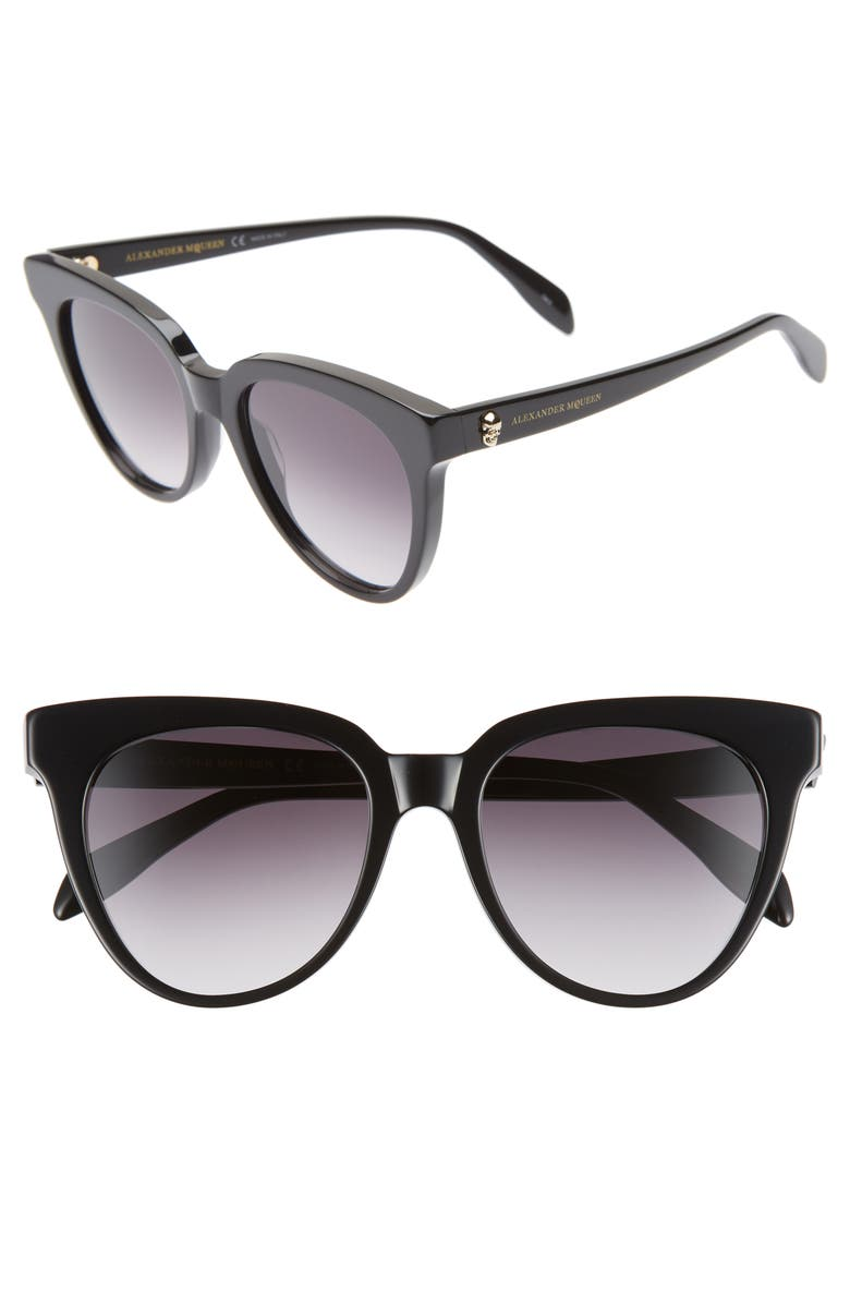 ALEXANDER MCQUEEN 53mm Cat Eye Sunglasses, Main, color, BLACK