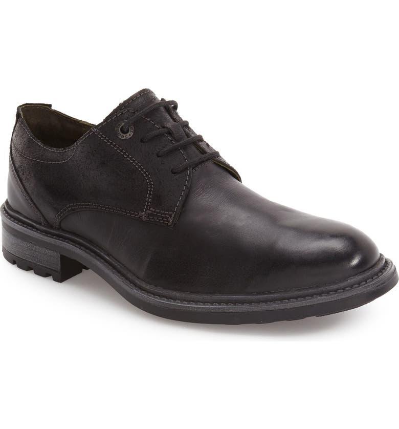JOSEF SEIBEL Oscar Plain Toe Derby, Main, color, BLACK LEATHER