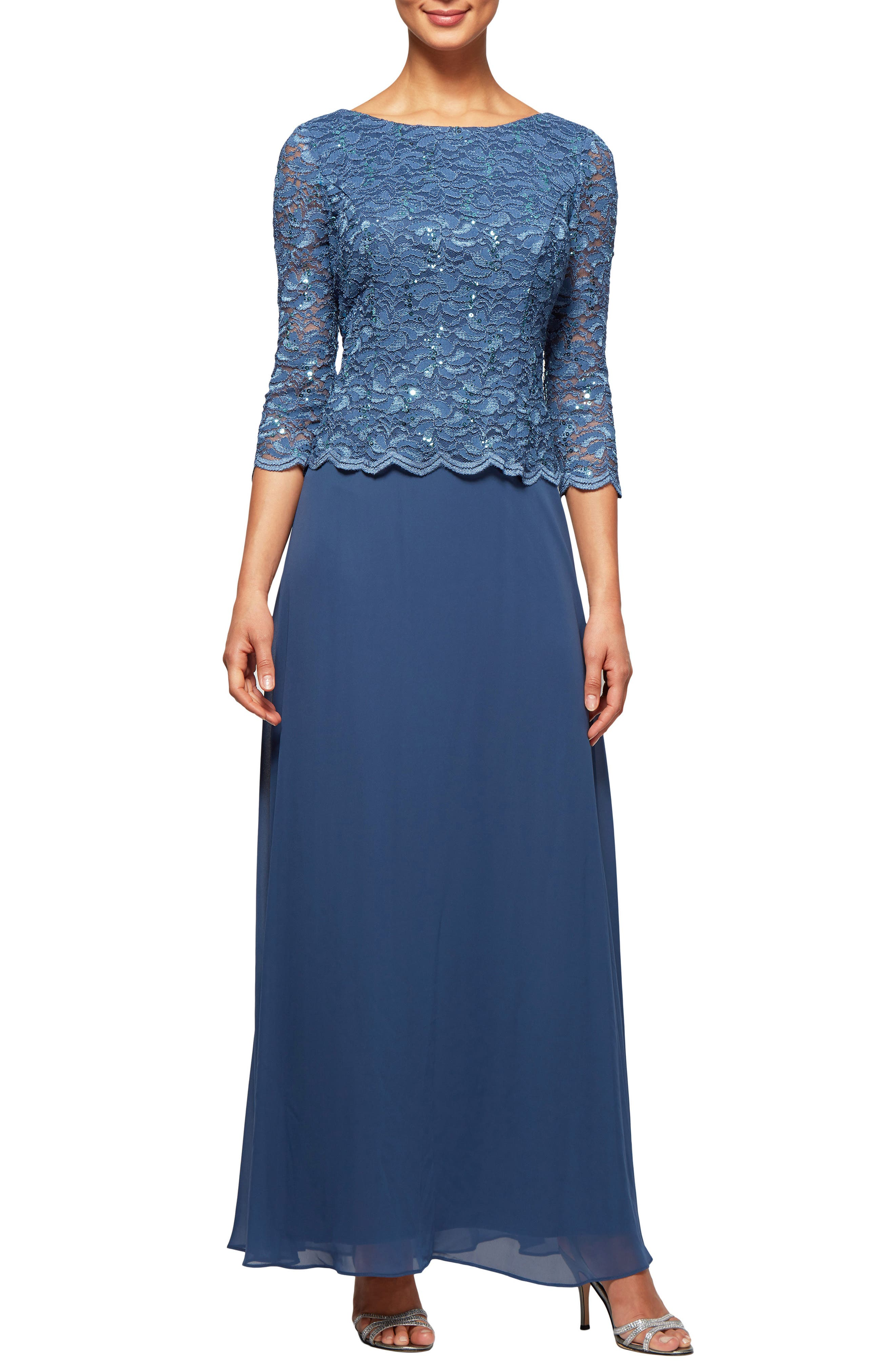 Achieve the polished look of two separate pieces in one enchanting dress with a floral-lace bodice and a full-length chiffon skirt. Style Name: Alex Evenings Mock Two-Piece Gown. Style Number: 738191 1. Available in stores.