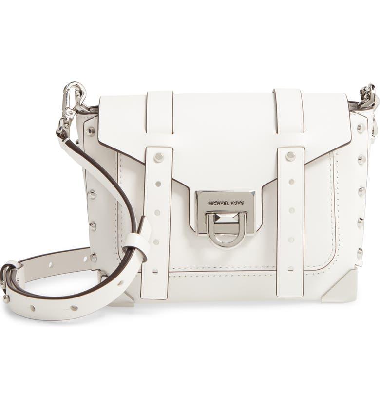 MICHAEL MICHAEL KORS Small Manhattan Leather Messenger Bag, Main, color, OPTIC WHITE
