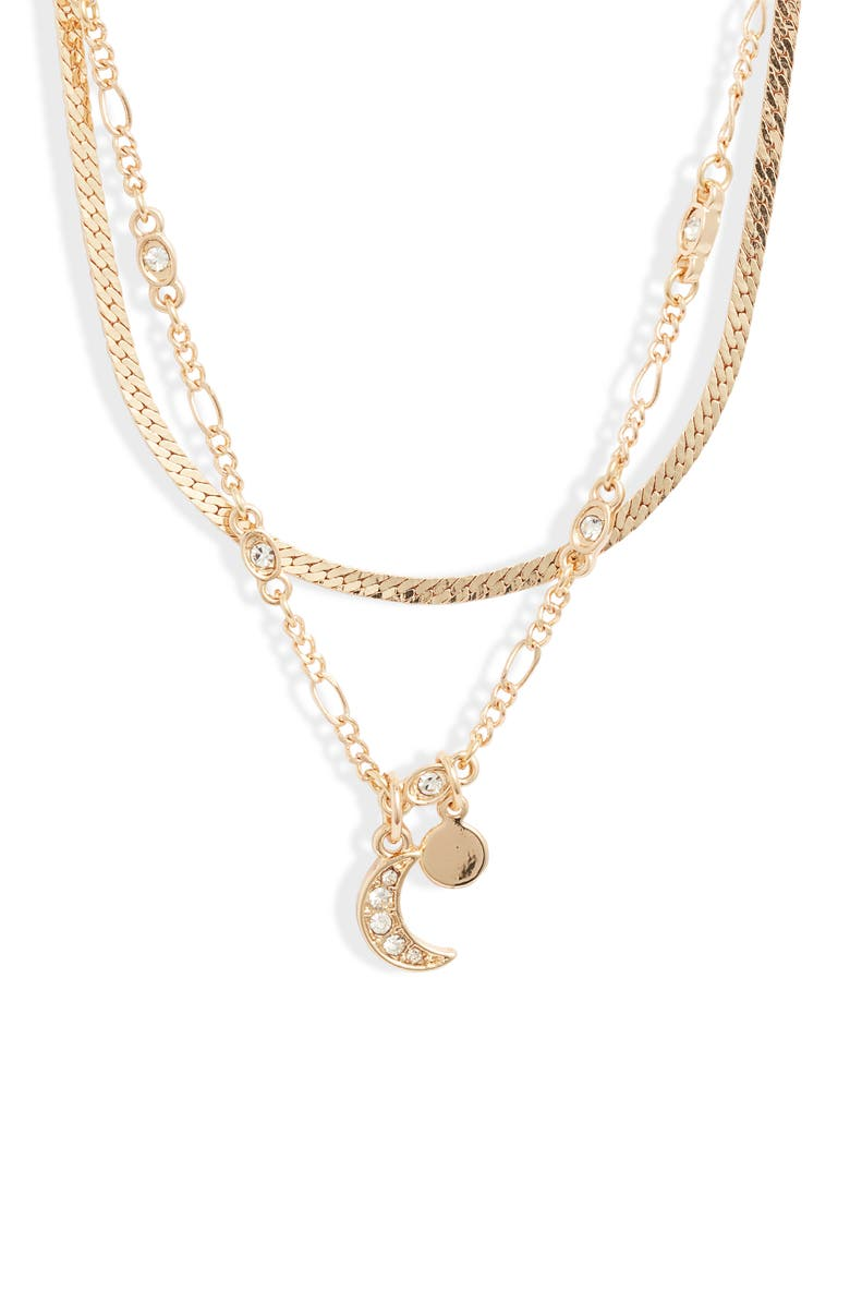 BP. x Claudia Sulewski Layered Charm Necklace, Main, color, CLEAR- GOLD