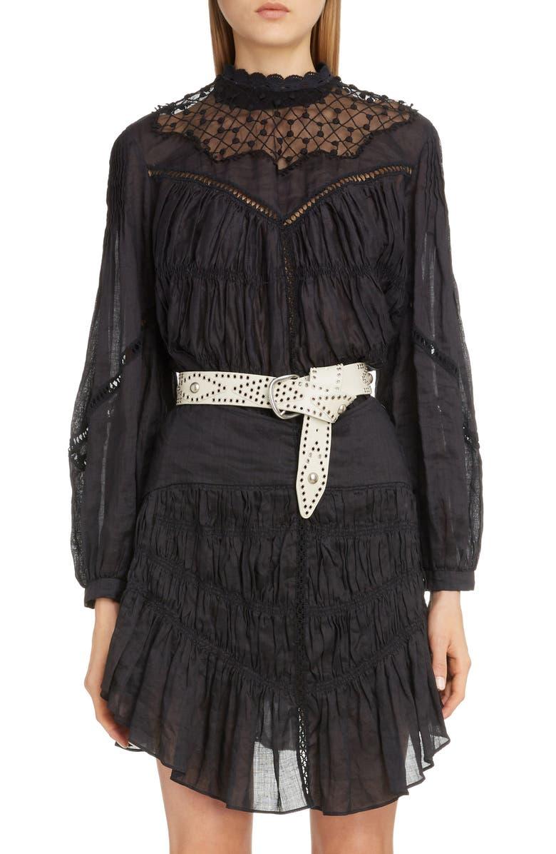 ISABEL MARANT Lace Yoke Top, Main, color, BLACK