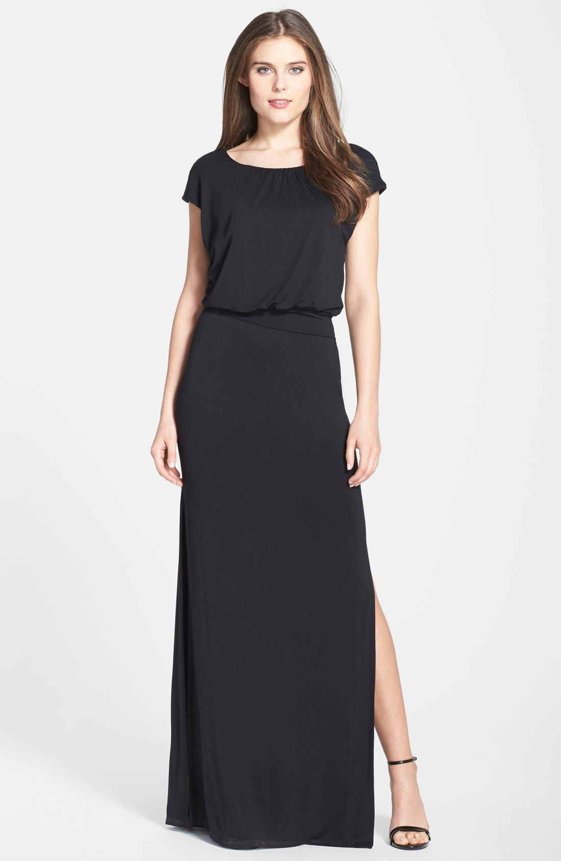 ,                             'Vienna' Blouson Maxi Dress,                             Alternate thumbnail 4, color,                             001