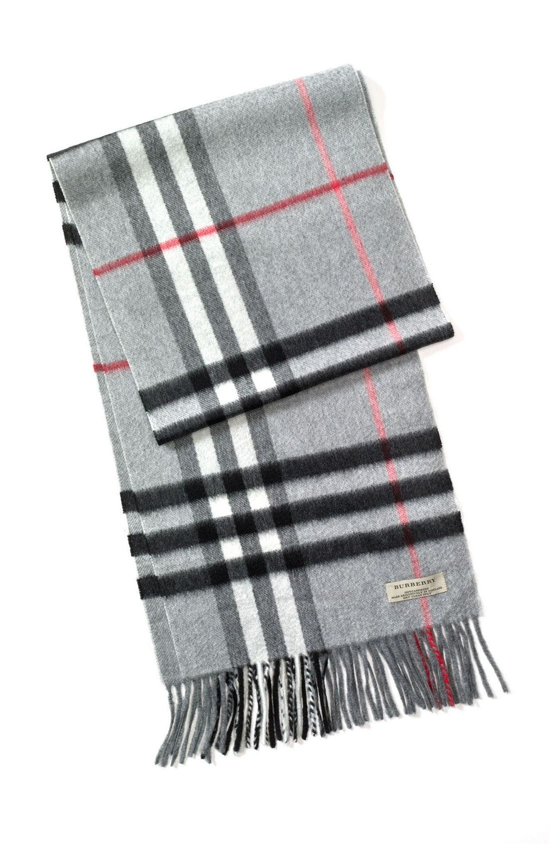 ,                             Heritage Check Cashmere Scarf,                             Main thumbnail 6, color,                             054