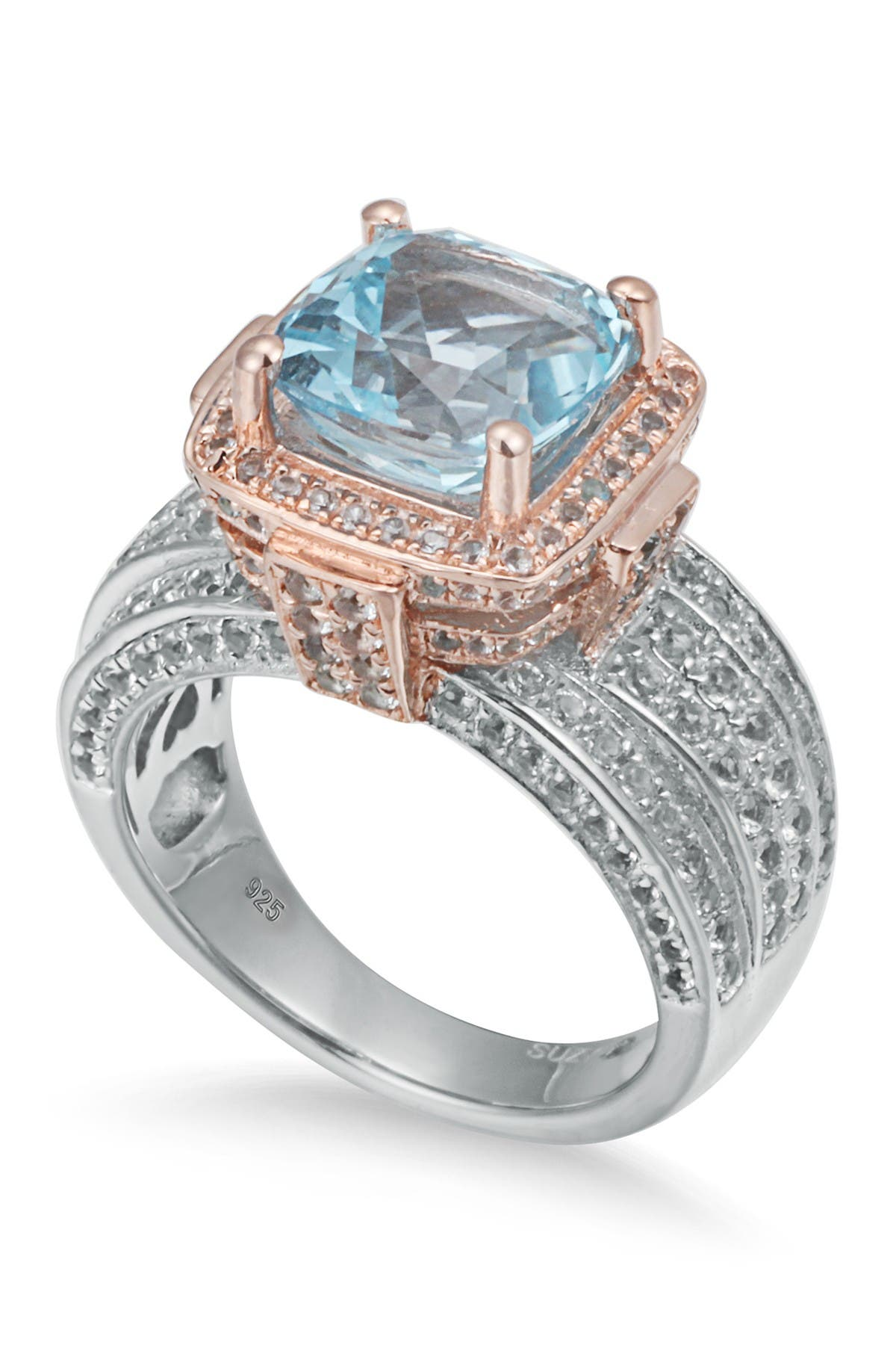 Image of Suzy Levian Sterling Silver Cushion Blue and White Topaz Ring