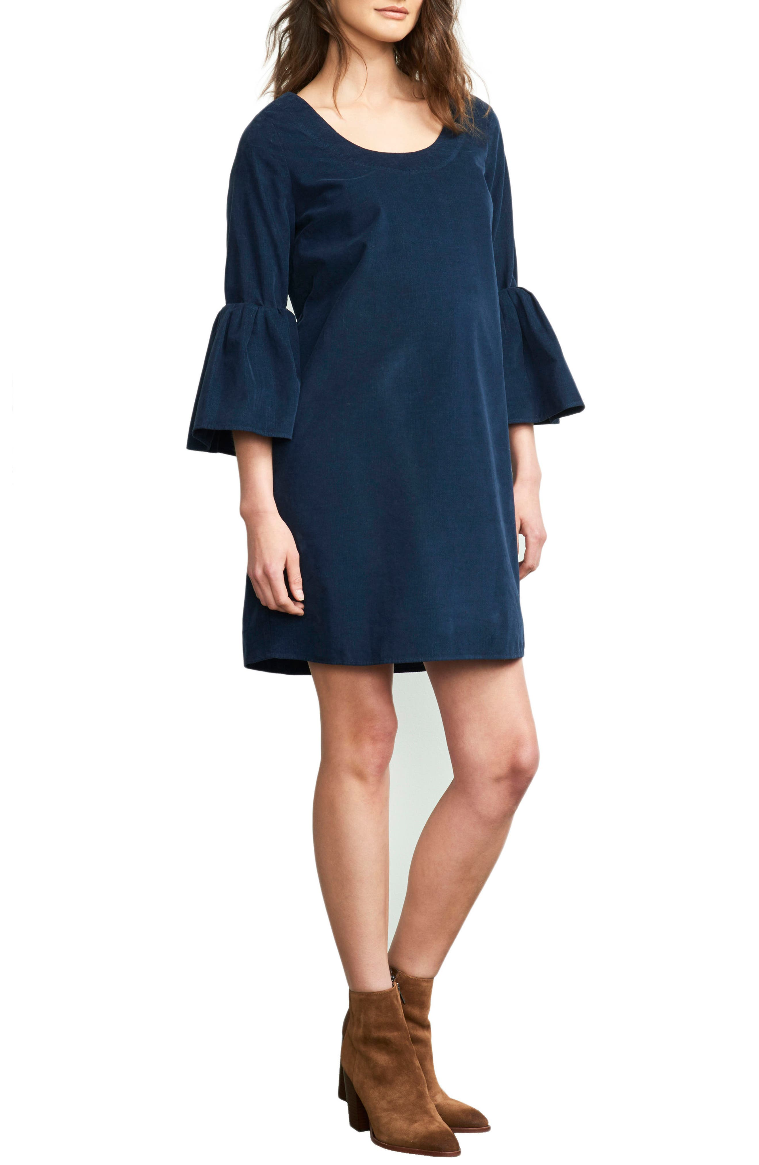 Maternal America Bell Sleeve Maternity Dress, Blue