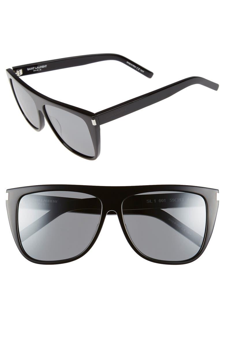 e6243954246 SL1 59mm Flat Top Sunglasses, Main, color, BLACK/ SILVER