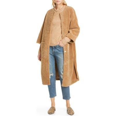 Jenni Kayne Genuine Shearling Wrap Coat, Brown