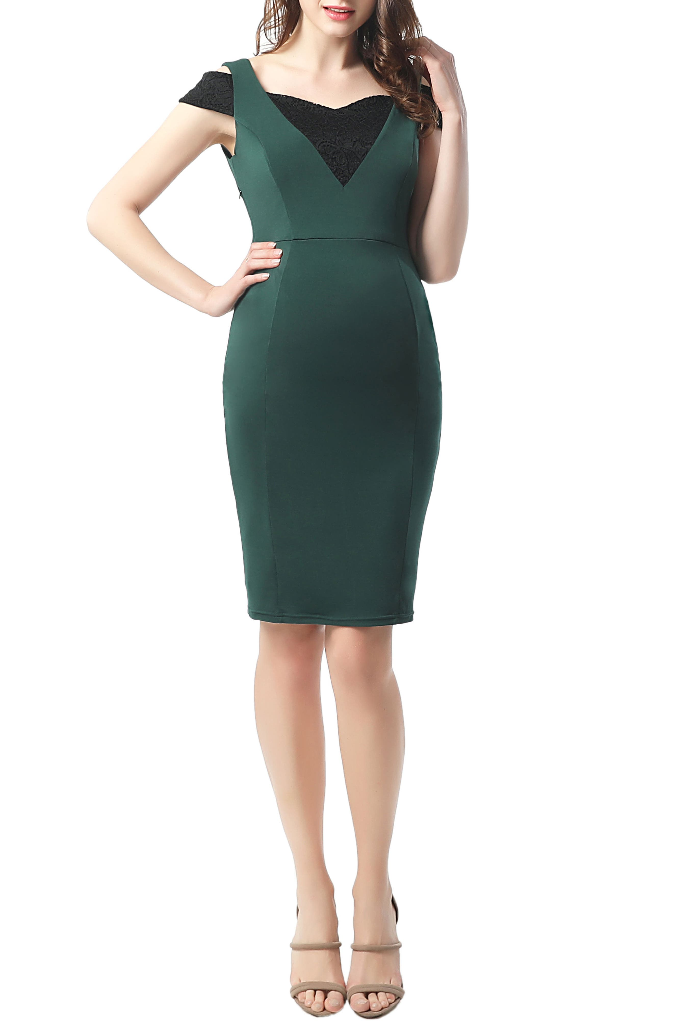 Kimi And Kai Taylor Cold Shoulder Maternity Body-Con Dress, Green