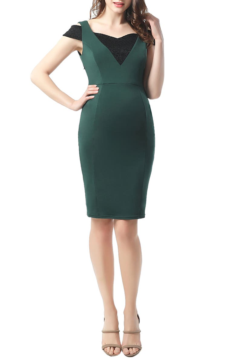 KIMI AND KAI Taylor Cold Shoulder Maternity Body-Con Dress, Main, color, FORREST GREEN