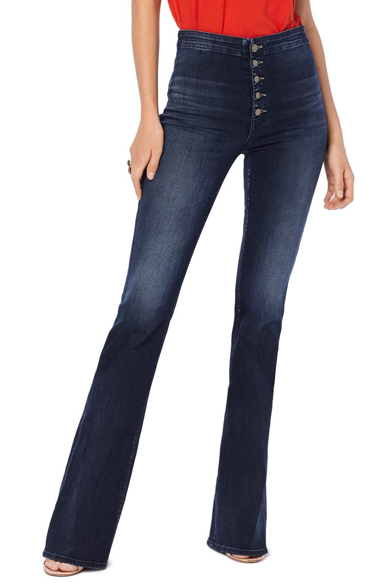 MOTHER The Hollywood Pixie Cruiser High Waist Flare Jeans, Main, color, 420