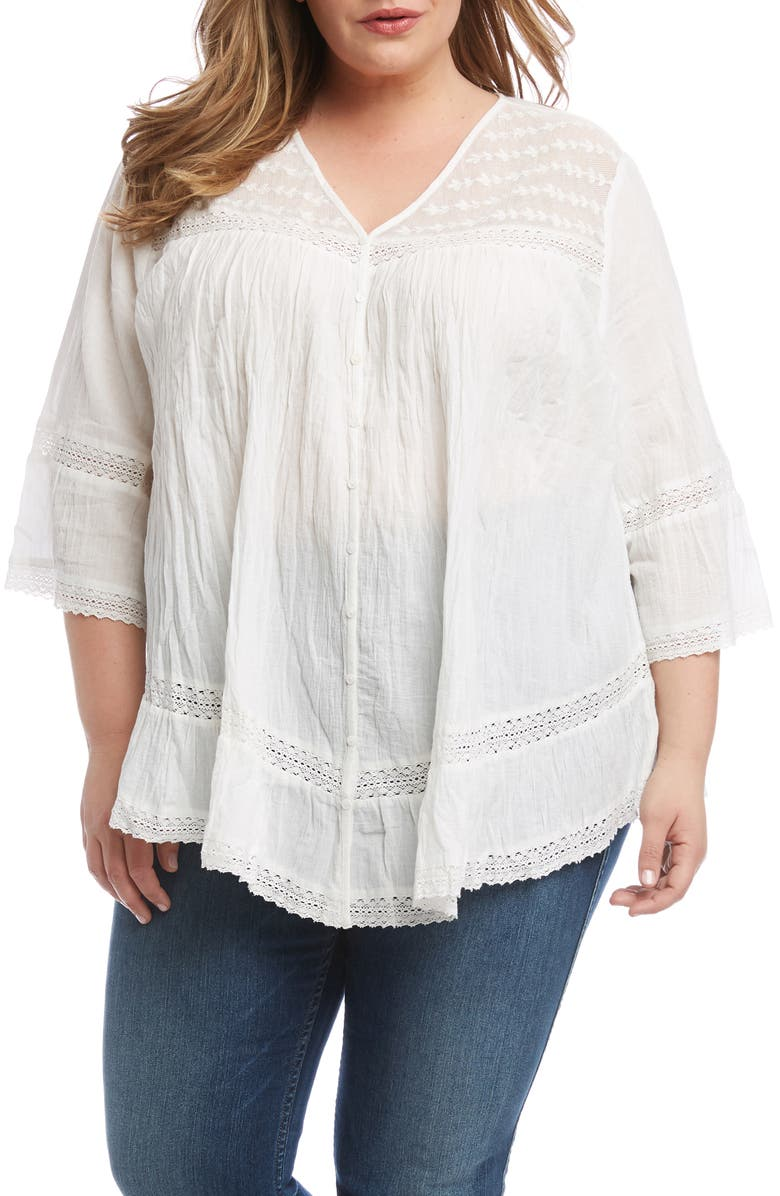 KAREN KANE Embroidered Lace Detail Cotton Blouse, Main, color, OFF WHITE