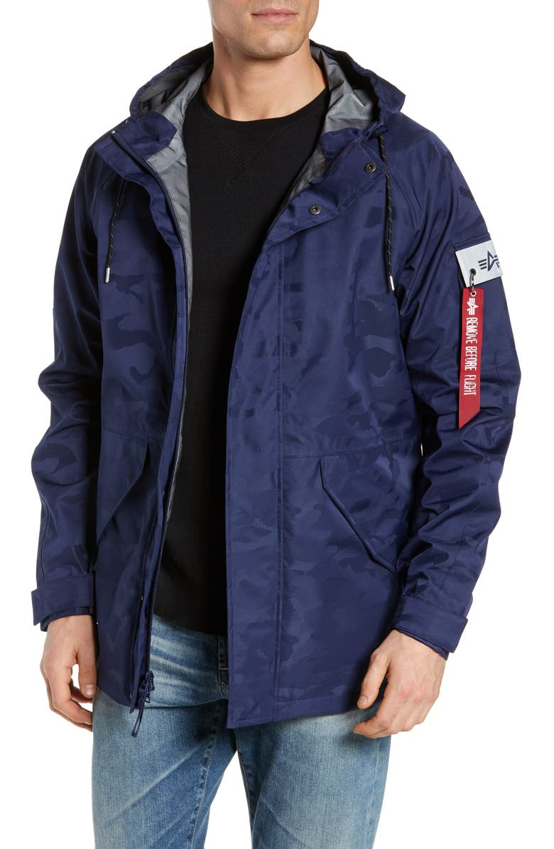 ALPHA INDUSTRIES Torrent Camo Jacket, Main, color, BLUE CAMO