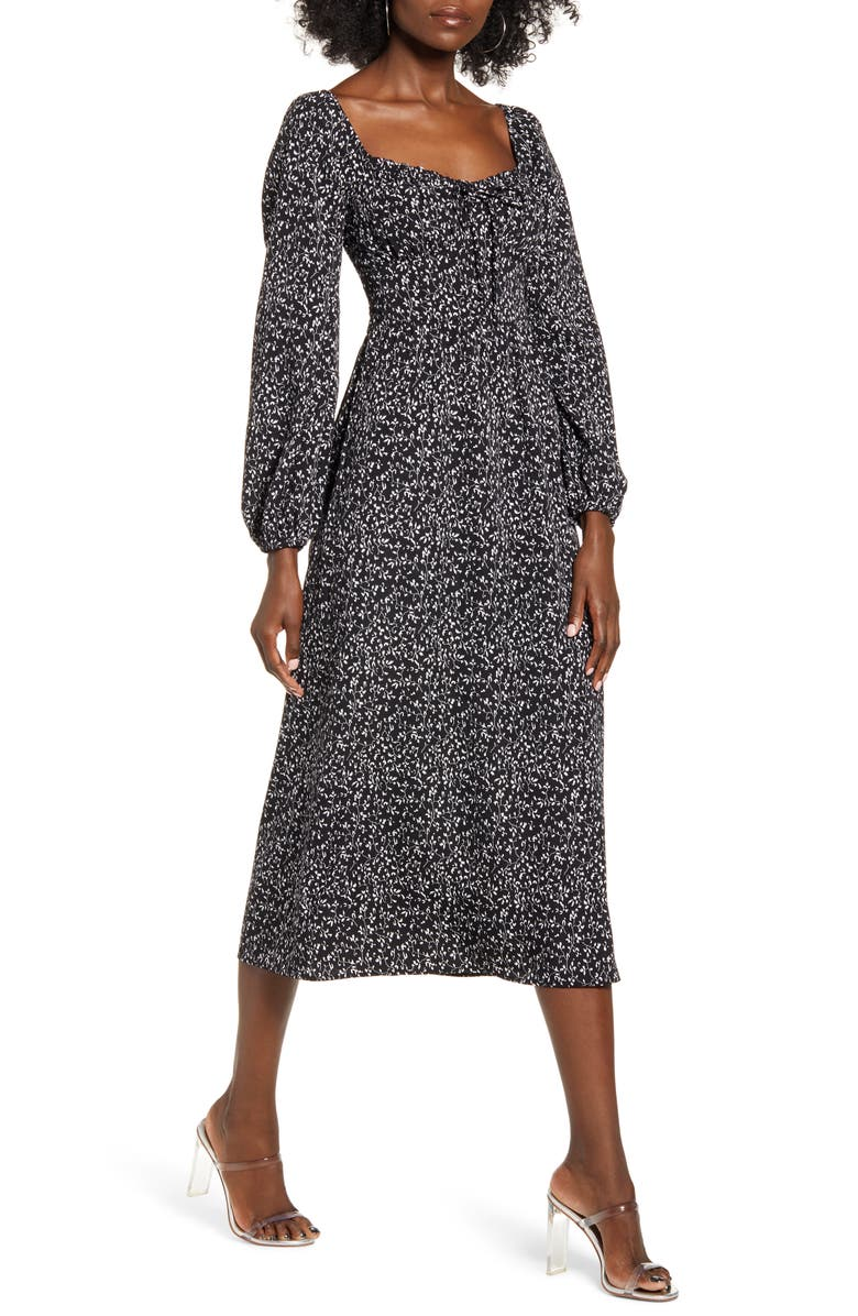 ALL IN FAVOR Sweetheart Tie Neck Long Sleeve Midi Dress, Main, color, BLACK/ IVORY