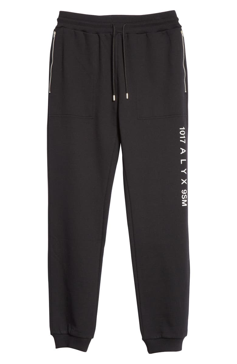 1017 ALYX 9SM Visual Logo Sweatpants, Main, color, BLACK
