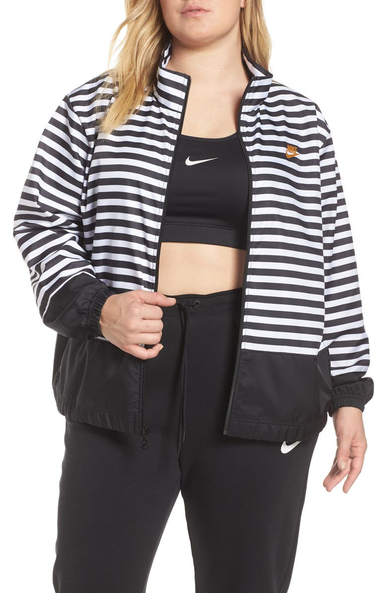 NIKE Womens NSW Woven Track Jacket, Main, color, WHITE/ BLACK