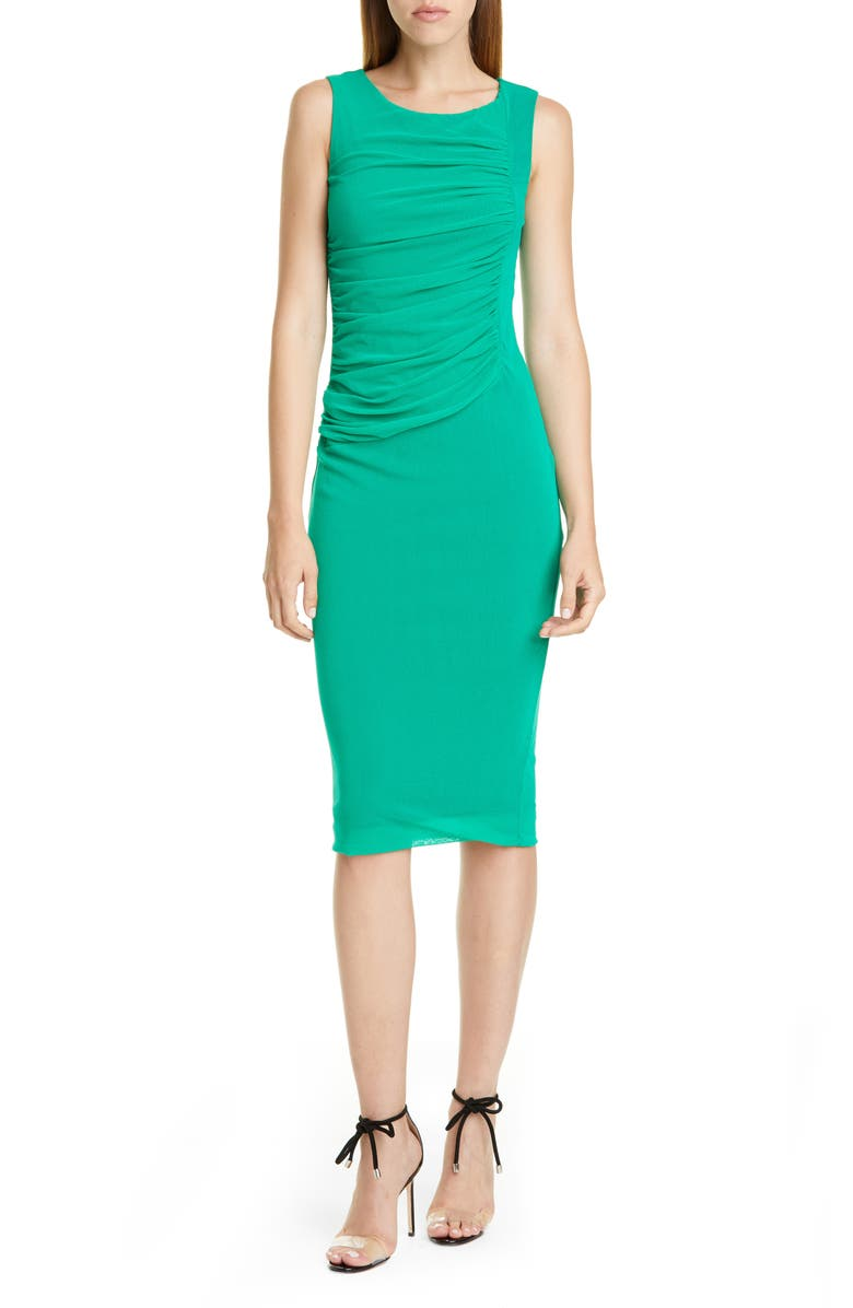 FUZZI Ruched Mesh Sheath Dress, Main, color, BILIARDO