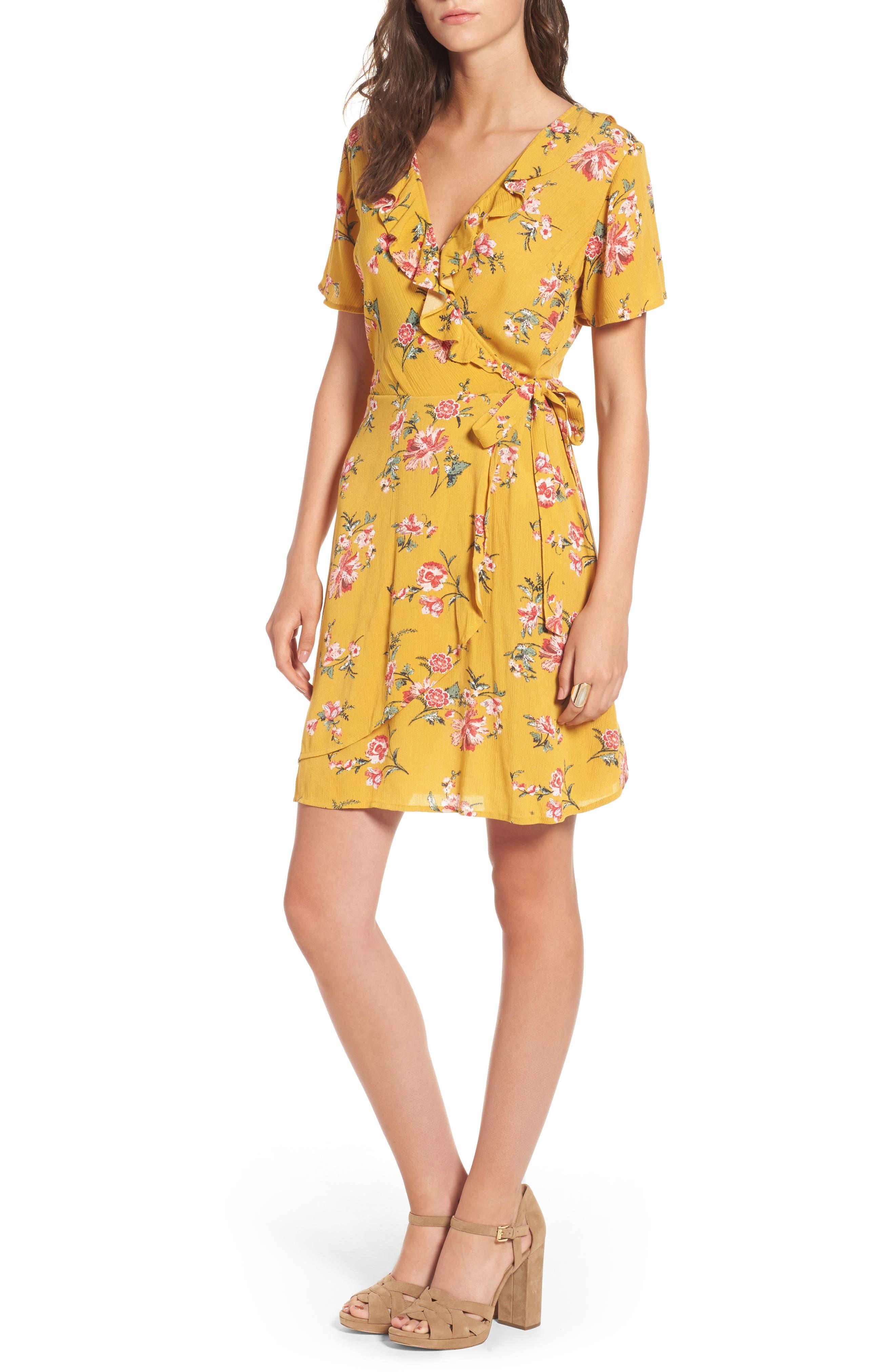 ,                             Floral Gauze Wrap Dress,                             Main thumbnail 7, color,                             752