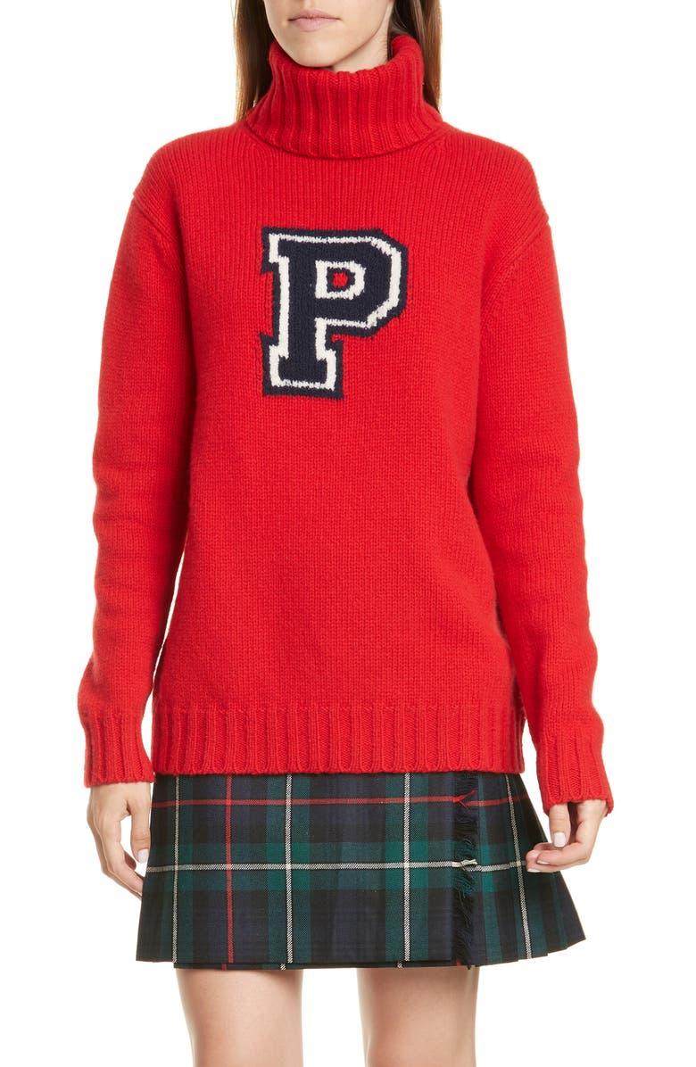 POLO RALPH LAUREN Varsity Wool Turtleneck Sweater, Main, color, 605