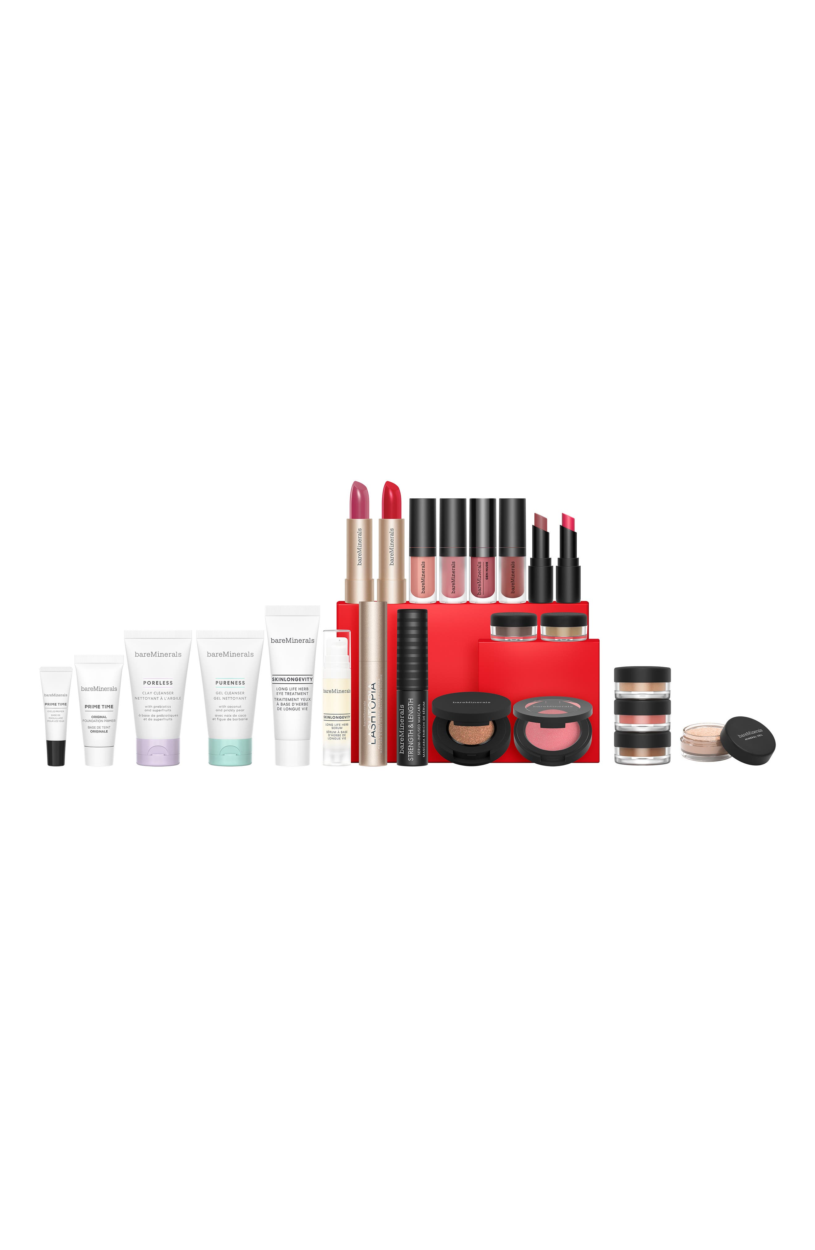 What it is: A limited-edition advent calendar filled with mini bareMinerals\\\' favorites to help you count down to the holidays. Set includes:- Skinlongevity Long Life Herb Serum (0.27 oz.)- Skinlongevity Long Life Herb Eye Treatment (0.1 oz.)- Poreless Clay Cleanser (1 oz.)- Pureness Gel Cleanser (1 oz.)- Prime Time Original Foundation Primer (0.24 oz.)- Mineral Veil Finishing Powder (0.03 oz.)- Loose Blush in Golden Gate (0.05 oz.)- Bounce & Blur