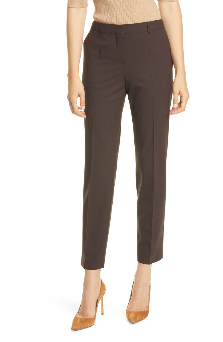 BOSS Tiluna Stretch Wool Trousers, Main, color, BLACK COFFEE