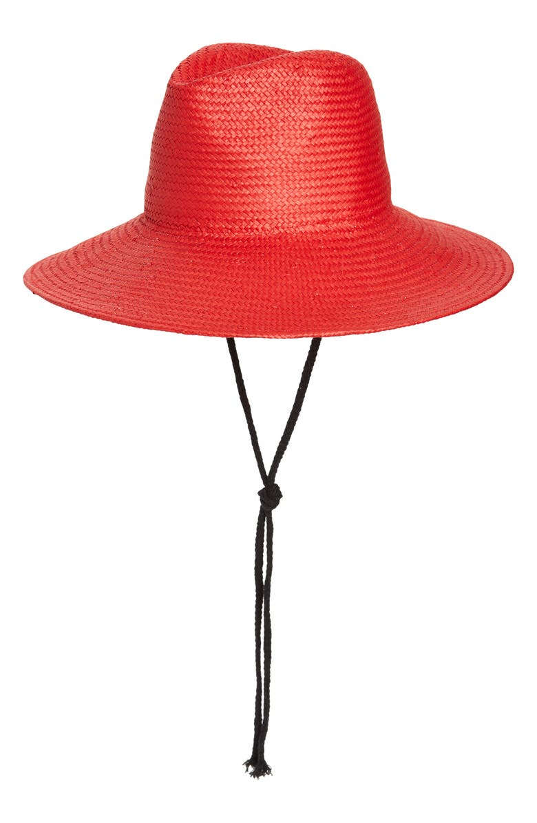 TROUVÉ Straw Boater Hat, Main, color, RED