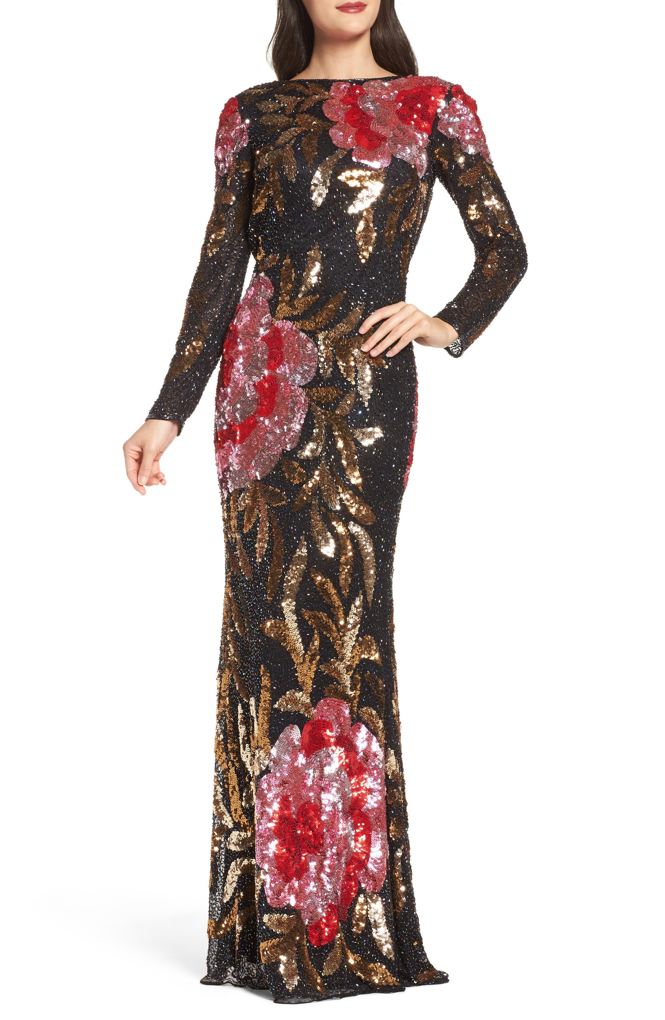 MAC Duggal Drape Back Floral Sequin Gown, Black