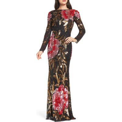MAC Duggal Drape Back Floral Sequin Gown, Black