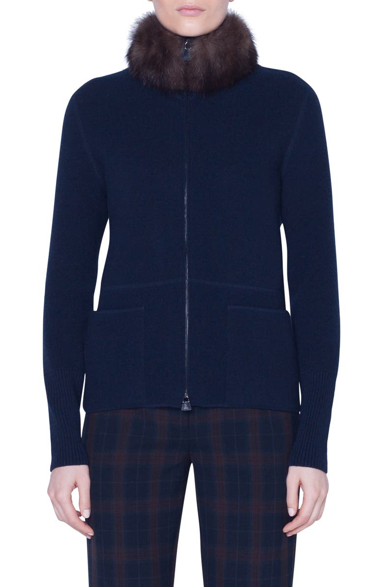 AKRIS Cashmere Cardigan with Removable Genuine Sable Fur Collar, Main, color, NAVY