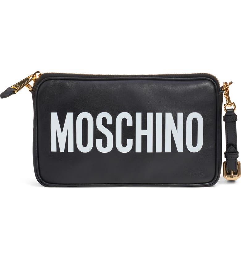 MOSCHINO Logo Leather Clutch, Main, color, 001