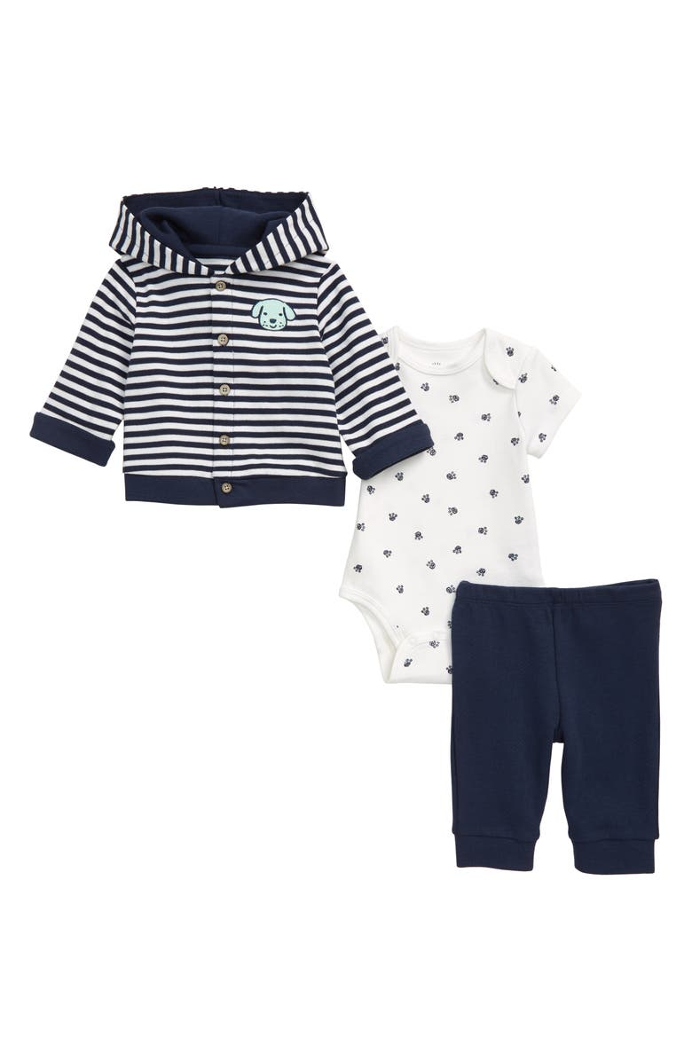 LITTLE ME Puppy Cardigan, Bodysuit & Pants Set, Main, color, BLUE