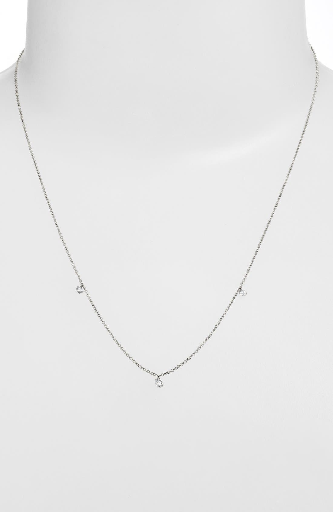 ,                             'Floating Diamond' 3-Diamond Necklace,                             Alternate thumbnail 3, color,                             WHITE GOLD