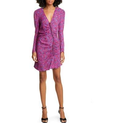 Veronica Beard Verona Long Sleeve Ruched Silk Dress, Pink