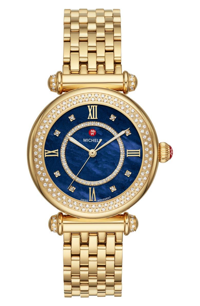 MICHELE Caber Diamond Dial Watch Head & Interchangeable Bracelet, 35mm, Main, color, GOLD/ BLUE MOP/ GOLD