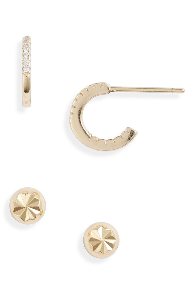ARGENTO VIVO Set of 2 Hoop & Stud Earrings, Main, color, GOLD