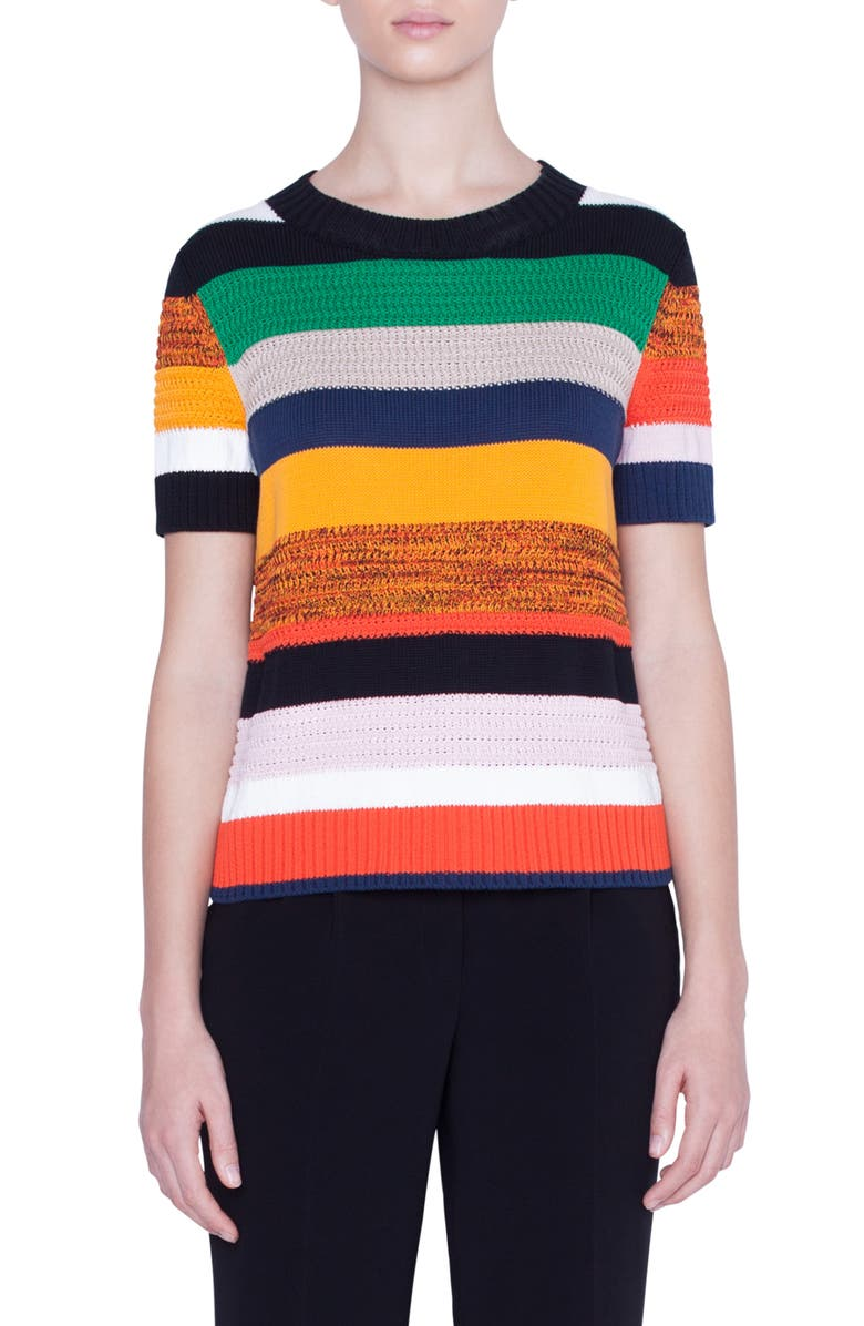 AKRIS PUNTO Multicolor Stripe Short Sleeve Sweater, Main, color, SUN/ BLACK/ CREAM